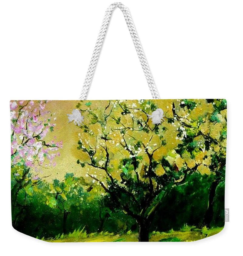 Landscape Weekender Tote Bag featuring the painting Orchard by Pol Ledent