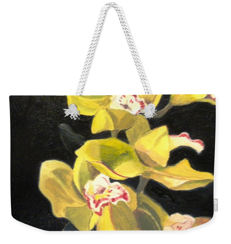 Flowers Weekender Tote Bag featuring the painting Orchids by Maralyn Miller