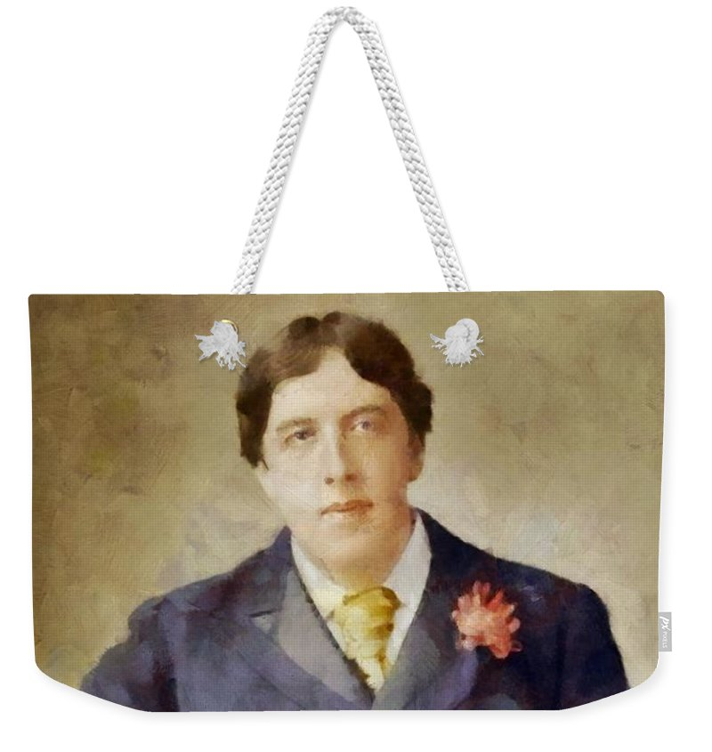 Writer Weekender Tote Bag featuring the painting Oscar Wilde, Literary Legend by Sarah Kirk