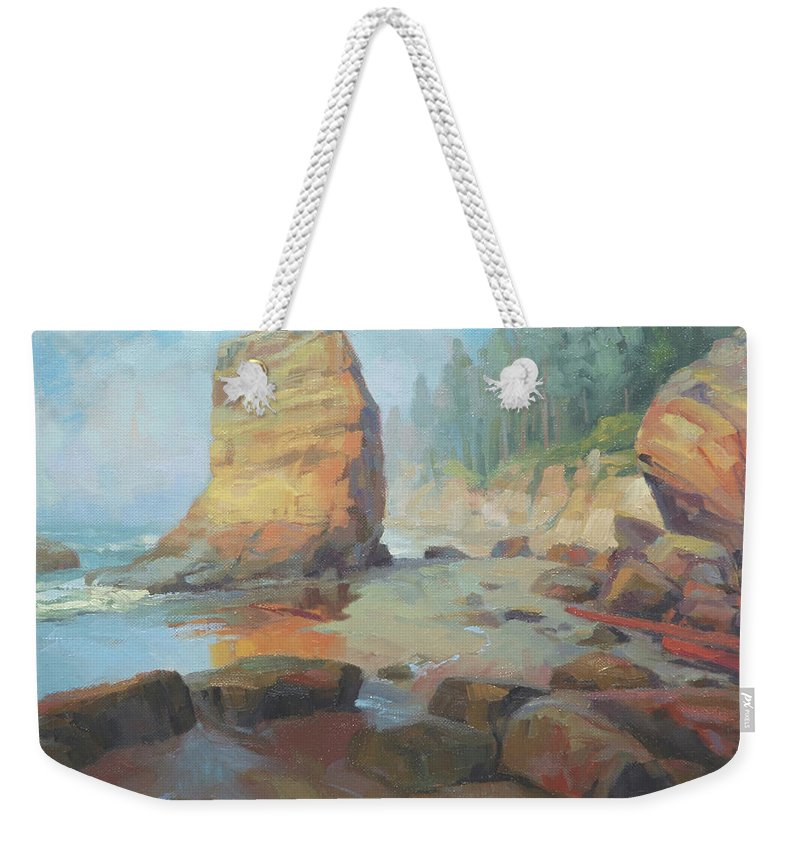 Coast Weekender Tote Bag featuring the painting Otter Rock Beach by Steve Henderson