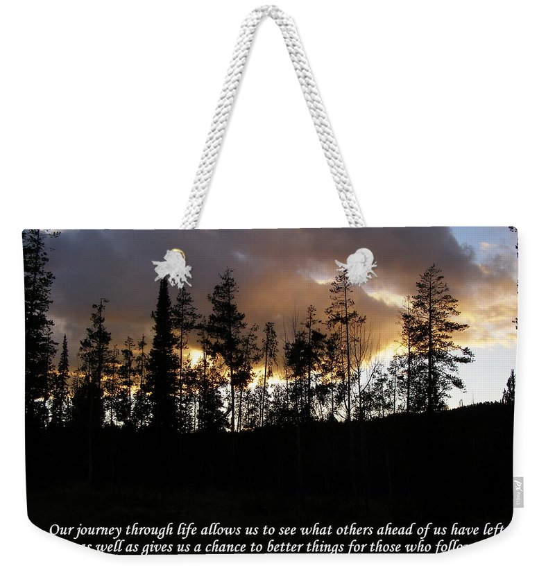Trees Weekender Tote Bag featuring the photograph Our Journey Through Life... by DeeLon Merritt