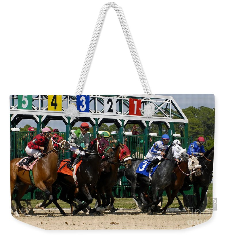 Fine Art Photography Weekender Tote Bag featuring the photograph Out Of The Gate by David Lee Thompson