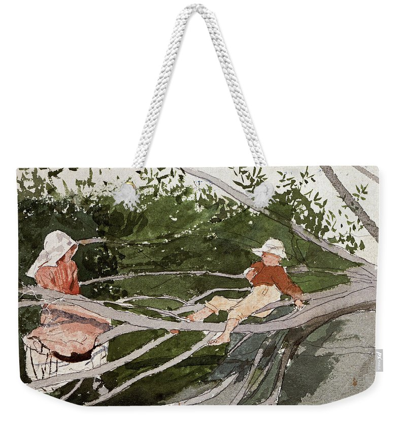 Winslow Homer Weekender Tote Bag featuring the drawing Out On A Limb by Winslow Homer