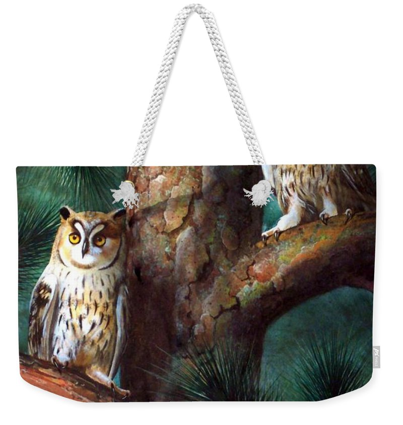 Wildlife Weekender Tote Bag featuring the painting Owls In Moonlight by Frank Wilson