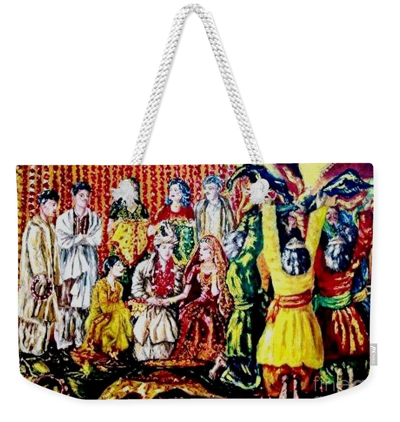 Oil Painting Weekender Tote Bag featuring the painting Pakistani wedding by Fareeha Khawaja