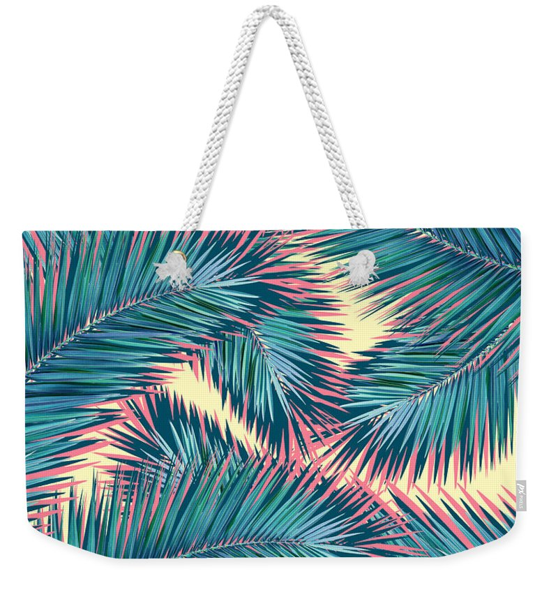 Summer Weekender Tote Bag featuring the digital art Palm Trees by Mark Ashkenazi