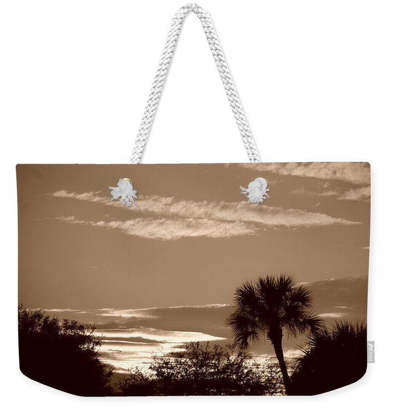 Sepia Weekender Tote Bag featuring the photograph Palms In The Clouds by Rob Hans