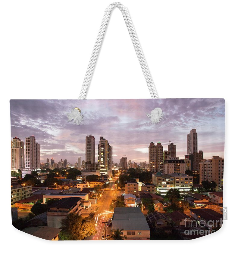 Heiko Weekender Tote Bag featuring the photograph Panama City At Night by Heiko Koehrer-Wagner