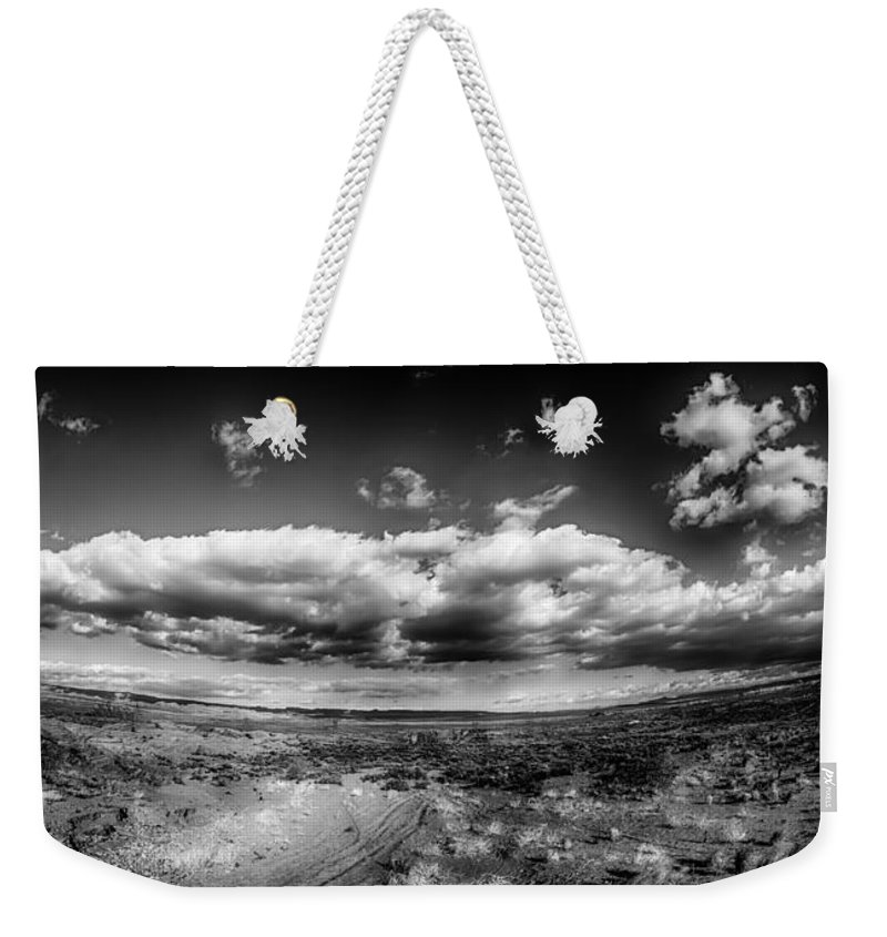 Amazing Weekender Tote Bag featuring the photograph Panorama Of A Valley In Utah Desert With Blue Sky by Alex Grichenko