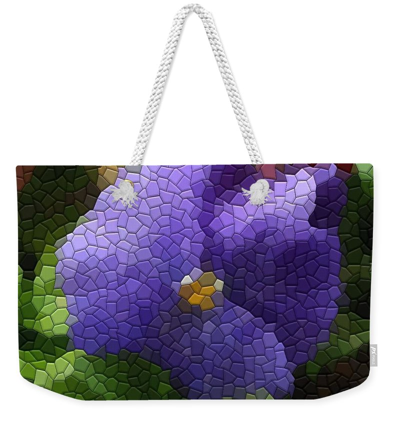 Pansy Weekender Tote Bag featuring the photograph Pansies by Kathryn Meyer