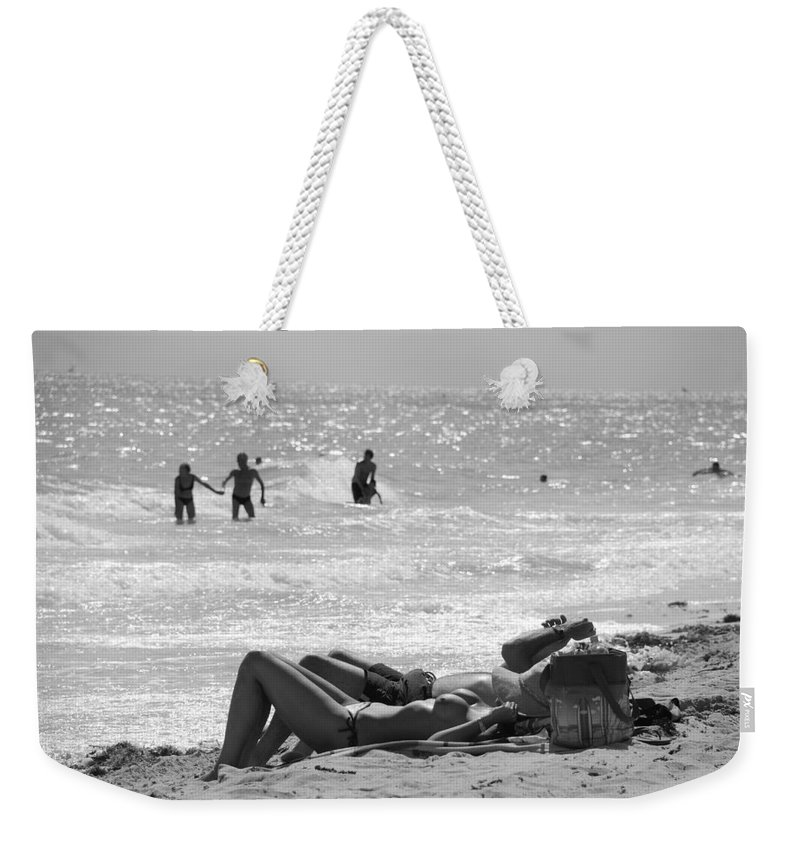 Black And White Weekender Tote Bag featuring the photograph Paradise Beach by Rob Hans