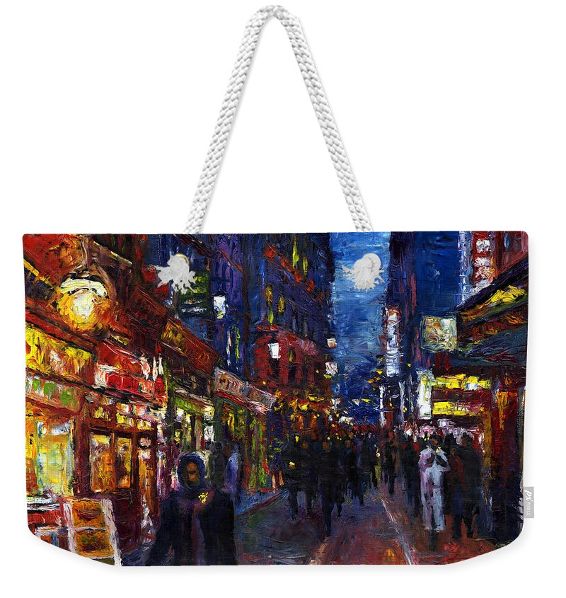 Oil Weekender Tote Bag featuring the painting Paris Quartier Latin 01 by Yuriy Shevchuk