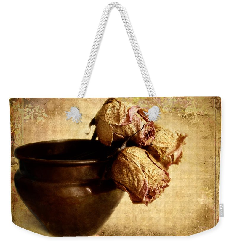 Still Life Weekender Tote Bag featuring the photograph Patina by Jessica Jenney
