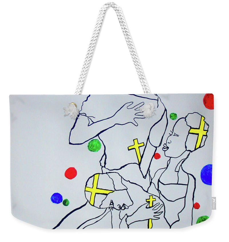 Jesus Weekender Tote Bag featuring the painting Peace The Inner Message Poster South Sudan by Gloria Ssali
