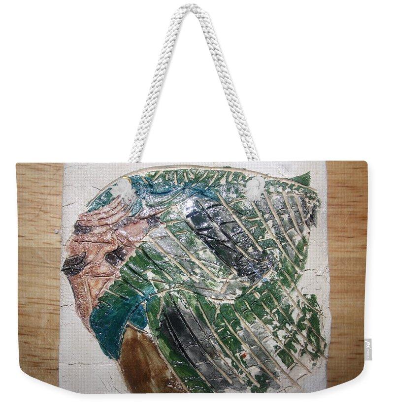 Jesus Weekender Tote Bag featuring the ceramic art Peak - Tile by Gloria Ssali