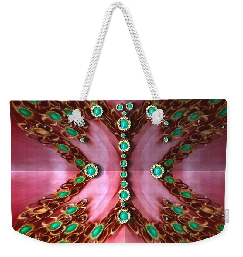 Butterflie Weekender Tote Bag featuring the mixed media Pearls Dedicated To The Nature by Pepita Selles