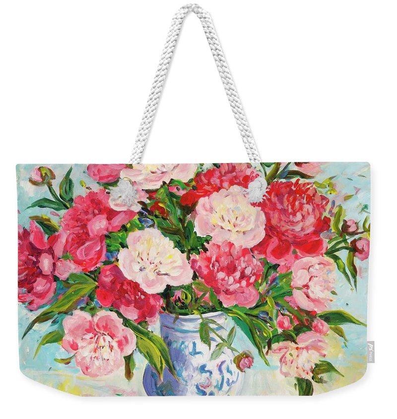 Flowers Weekender Tote Bag featuring the painting Peonies by Ingrid Dohm