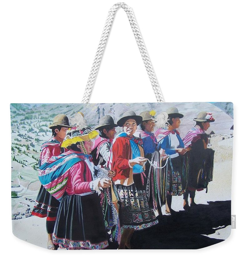 Outdoors Weekender Tote Bag featuring the mixed media Peruvian Ladies by Constance Drescher