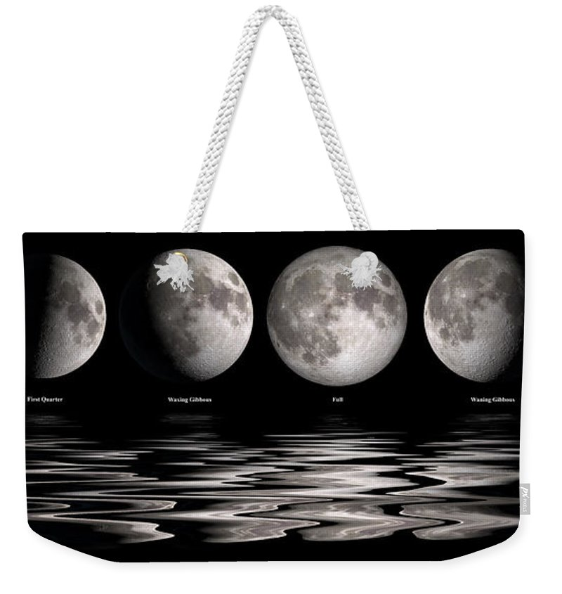 Moon Weekender Tote Bag featuring the painting Phases Of The Moon by Jerry McElroy