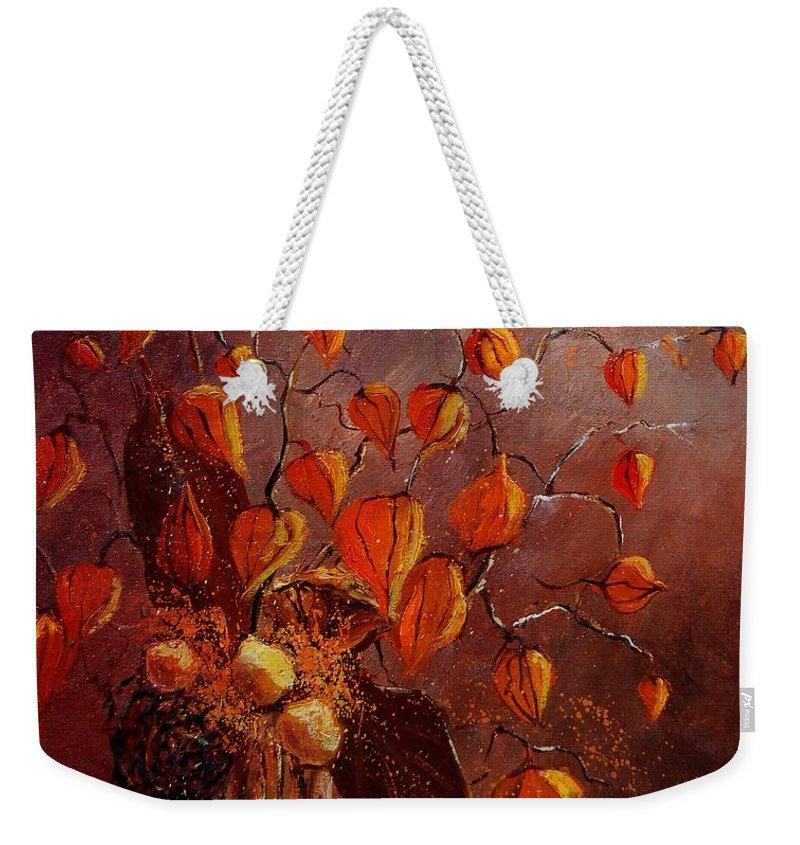 Flowers Weekender Tote Bag featuring the painting Physialis by Pol Ledent