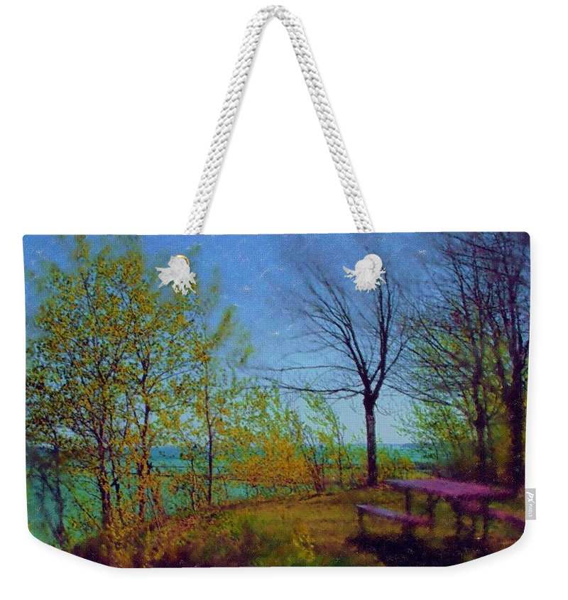 Lake Weekender Tote Bag featuring the digital art Picnic Table By The Lake by Anita Burgermeister