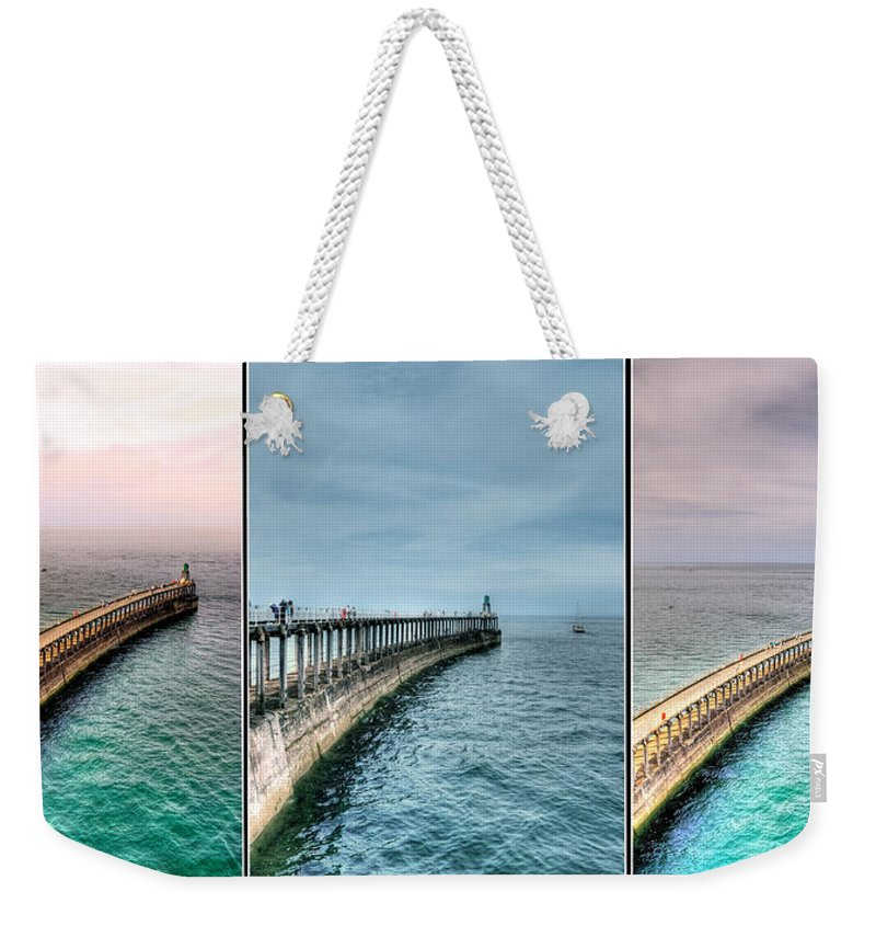 Aqua Weekender Tote Bag featuring the photograph Pier by Svetlana Sewell