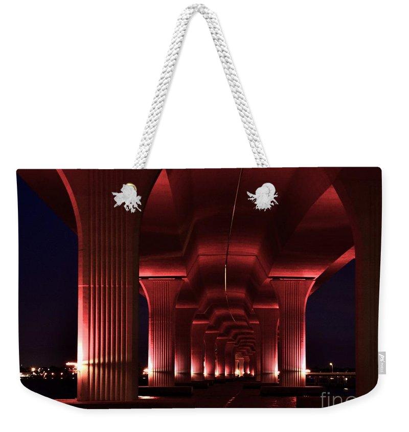 Pink Bridge Weekender Tote Bag featuring the photograph Pink Bridge 4 by Lisa Renee Ludlum