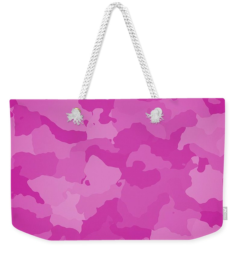 Pink Weekender Tote Bag featuring the digital art Pink Camo by Immaculate World