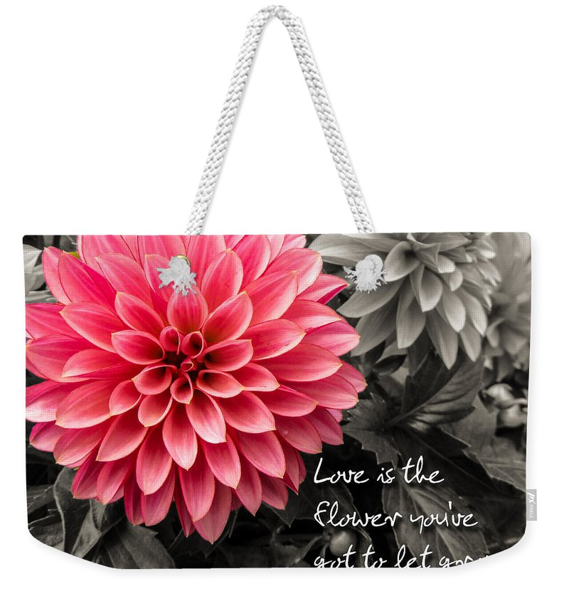 Dahlias Weekender Tote Bag featuring the photograph Pink Dahlia With John Lennon Quote by Dawn Key