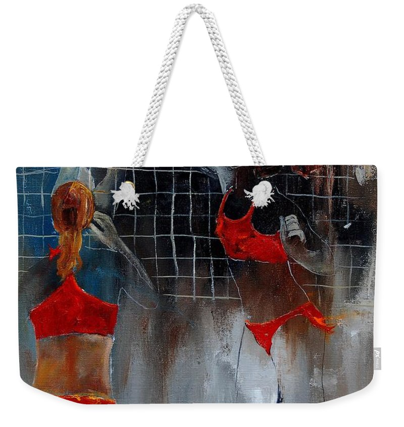 Sport Weekender Tote Bag featuring the painting Playing Volley by Pol Ledent