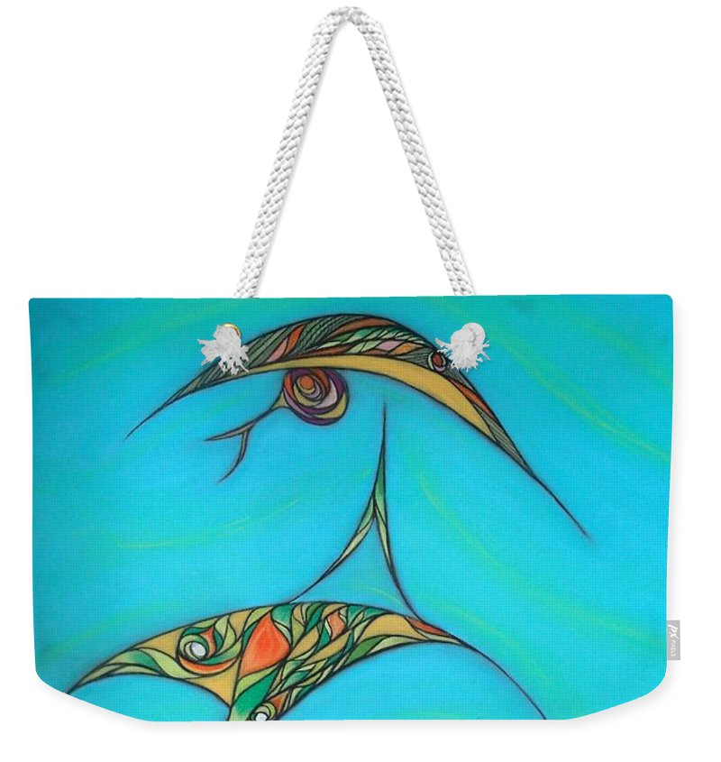Abstract Weekender Tote Bag featuring the pastel Pneuma by Robert Nickologianis