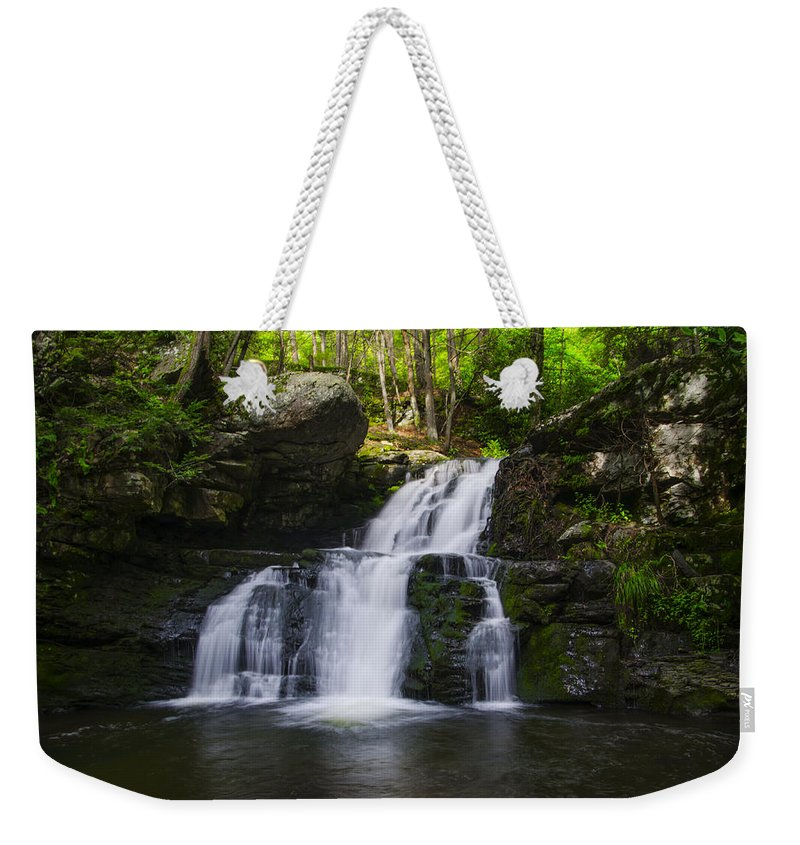 Waterfall Weekender Tote Bag featuring the photograph Pocono Mountains - Flowing Cascades by Bill Cannon