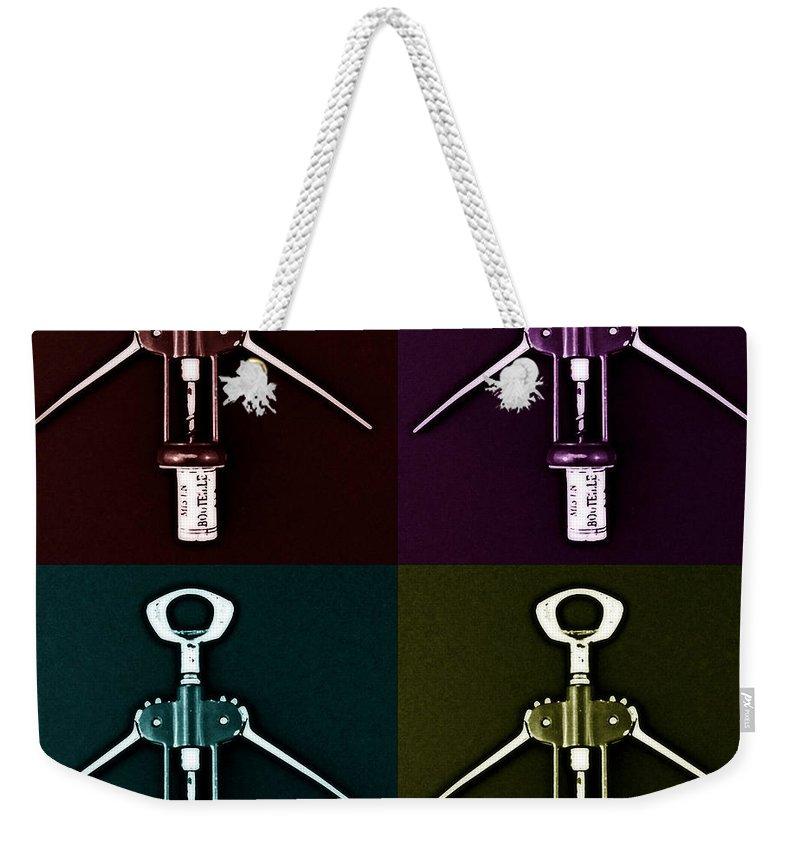 Pop-art Weekender Tote Bag featuring the photograph Pop Art Style Corkscrews. by Paul Cullen