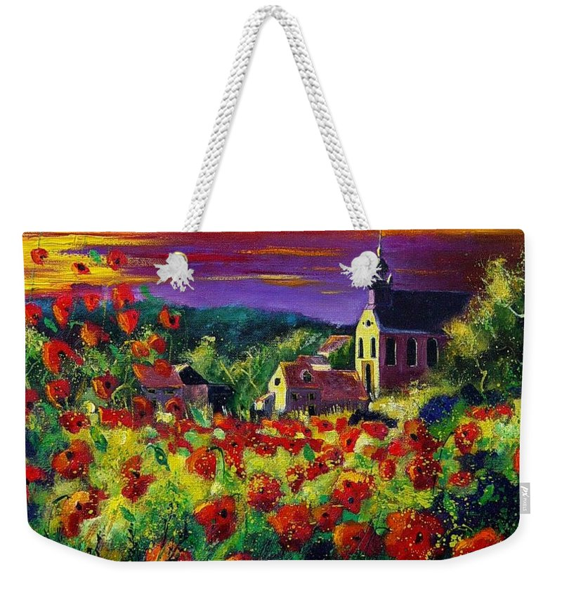 Flowers Weekender Tote Bag featuring the painting Poppies In Foy by Pol Ledent