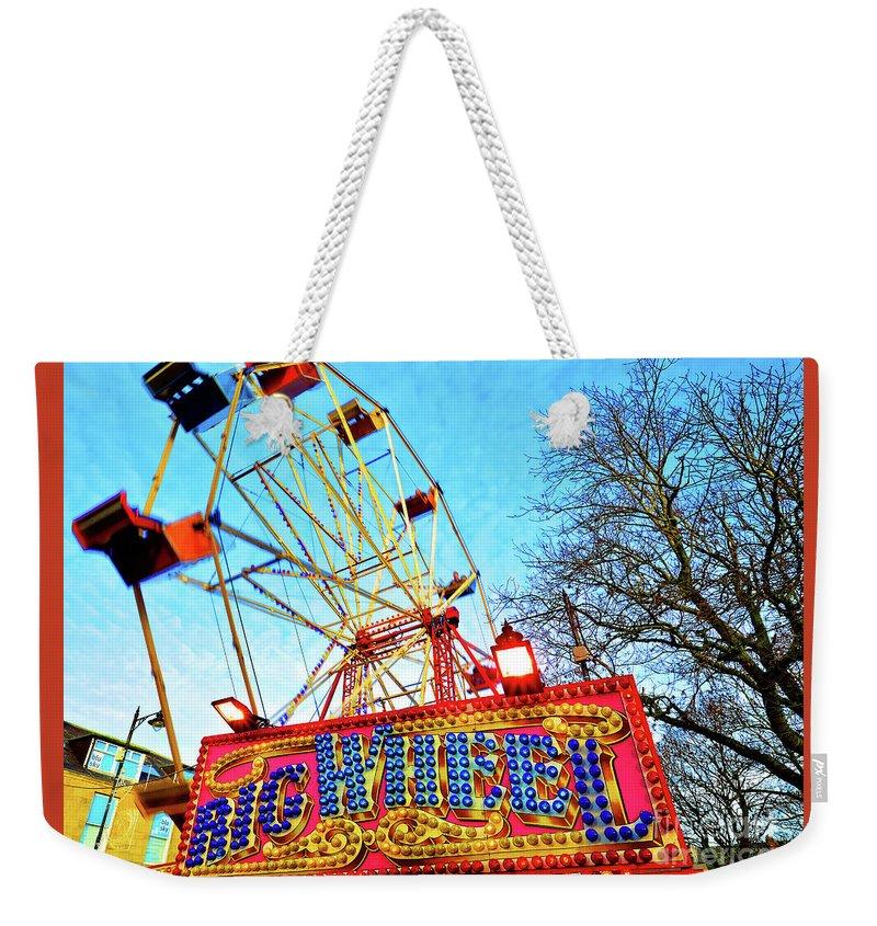 Fair Weekender Tote Bag featuring the photograph Portable Ferris Wheel Victorian Winter Fair by Wilf Doyle