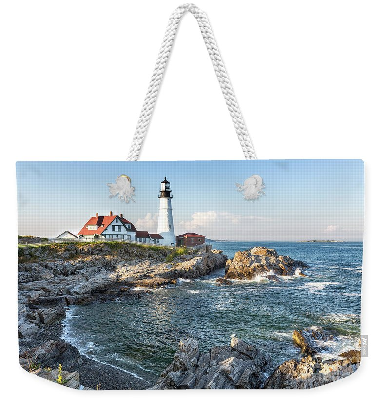 Lighthouse Weekender Tote Bag featuring the photograph Portland Head Lighthouse by Jane Rix