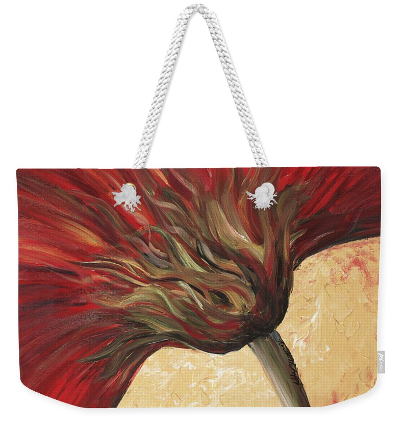 Floral Weekender Tote Bag featuring the painting Power of Red by Nadine Rippelmeyer