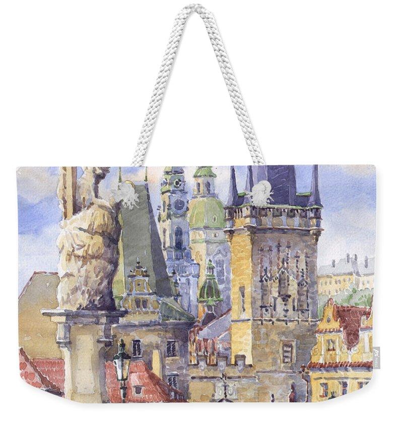 Watercolour Weekender Tote Bag featuring the painting Prague Charles Bridge by Yuriy Shevchuk