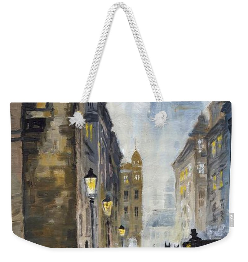 Prague Weekender Tote Bag featuring the painting Prague Old Street 01 by Yuriy Shevchuk
