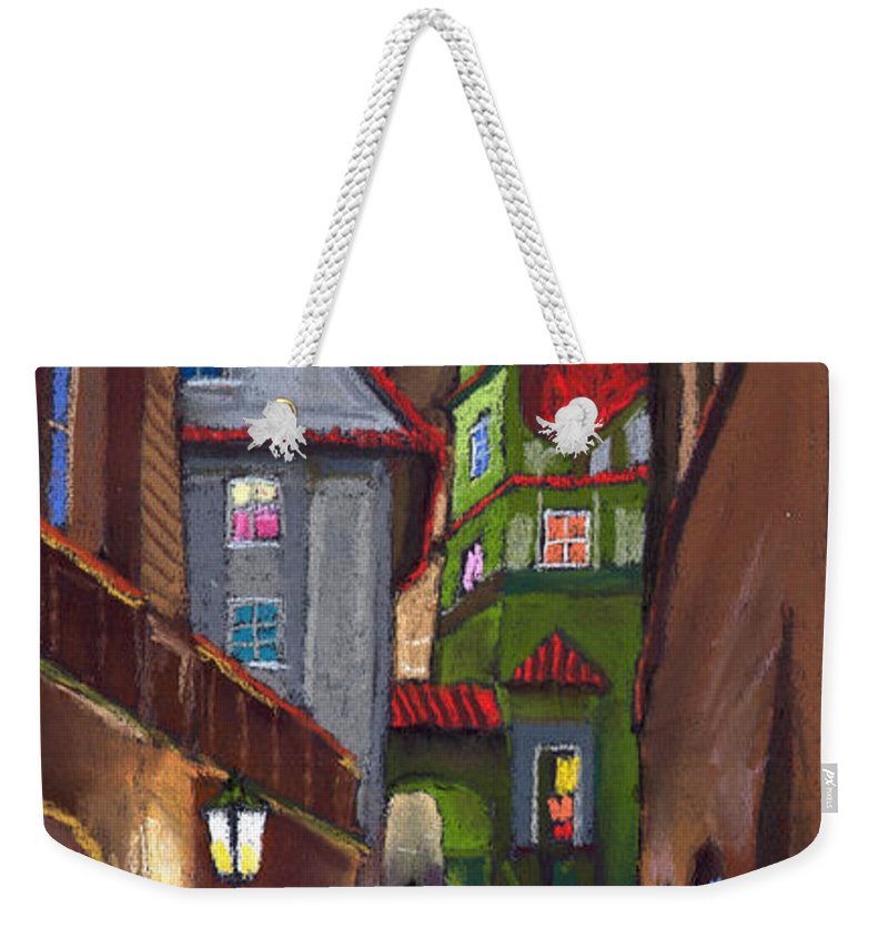 Pastel Weekender Tote Bag featuring the painting Prague Old Street by Yuriy Shevchuk