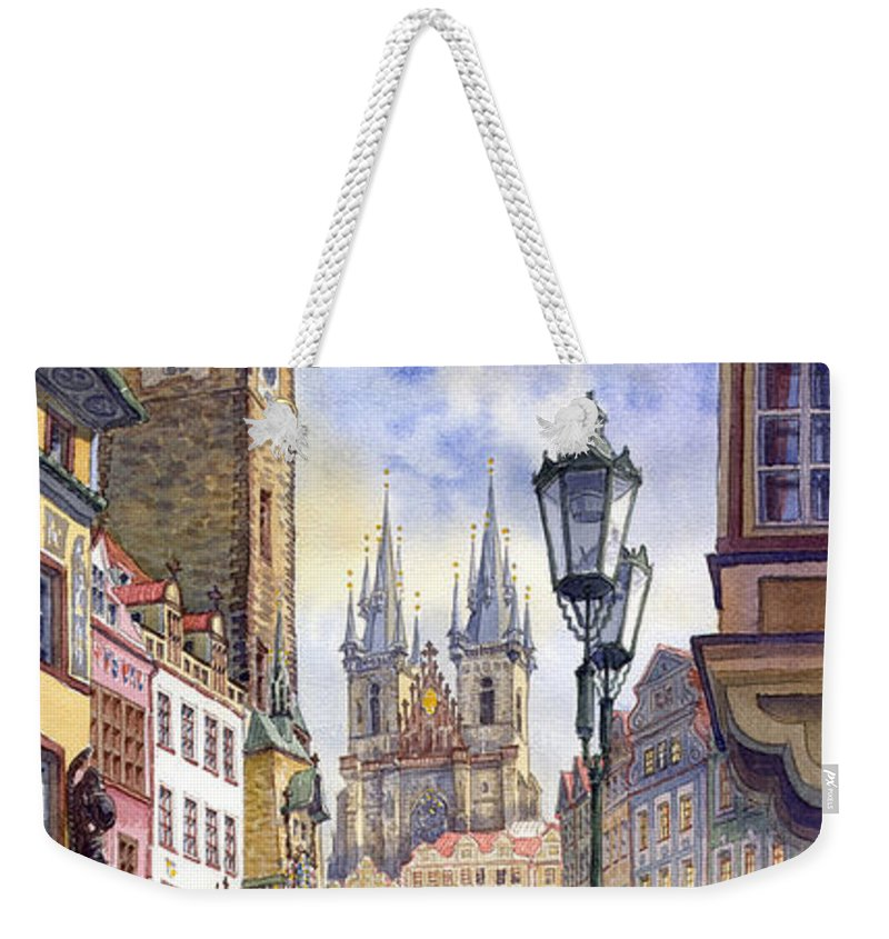 Watercolour Weekender Tote Bag featuring the painting Prague Old Town Square 01 by Yuriy Shevchuk