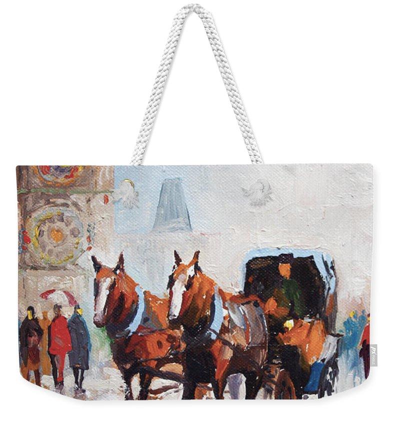 Prague Weekender Tote Bag featuring the painting Prague Old Town Square by Yuriy Shevchuk