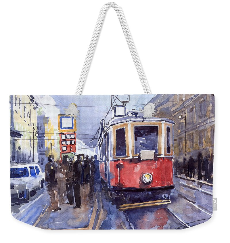 Cityscape Weekender Tote Bag featuring the painting Prague Old Tram 03 by Yuriy Shevchuk