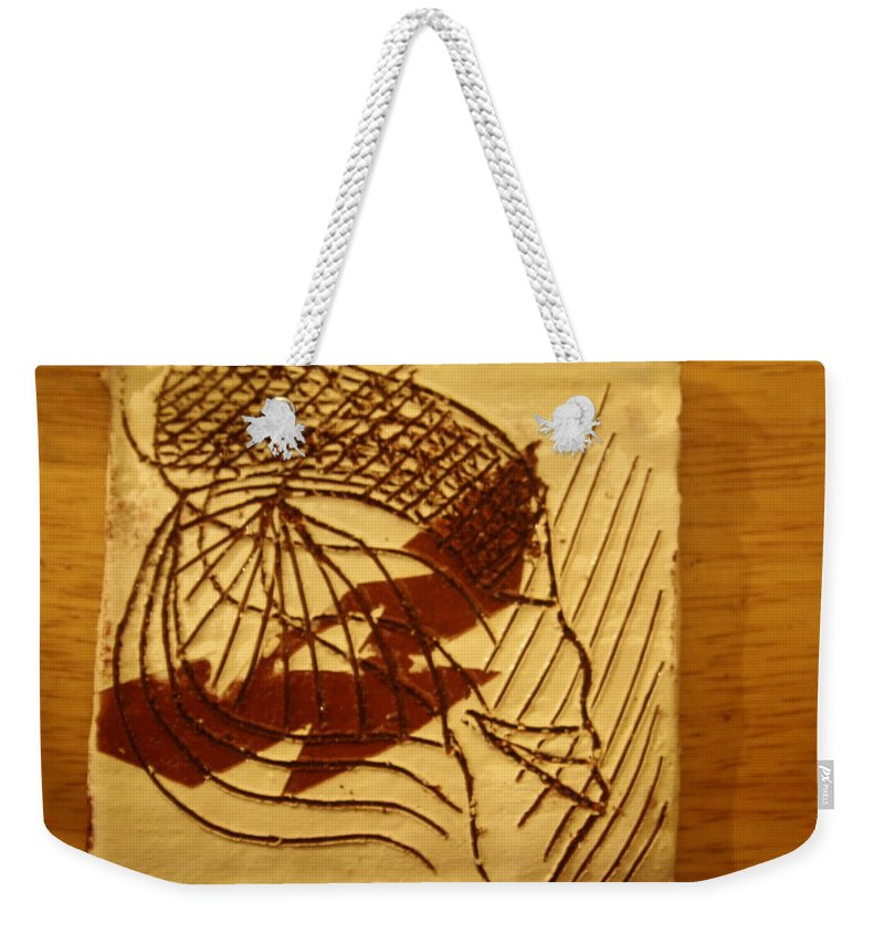 Jesus Weekender Tote Bag featuring the ceramic art Presence - Tile by Gloria Ssali