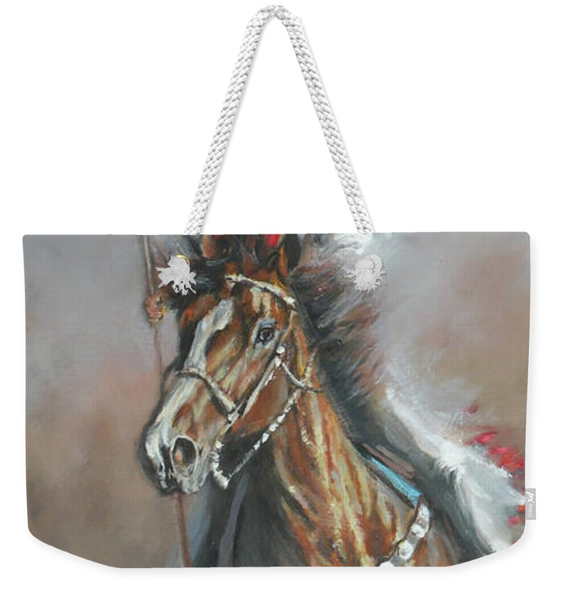 American Flags Weekender Tote Bag featuring the painting Presenting The Colors by Mia DeLode