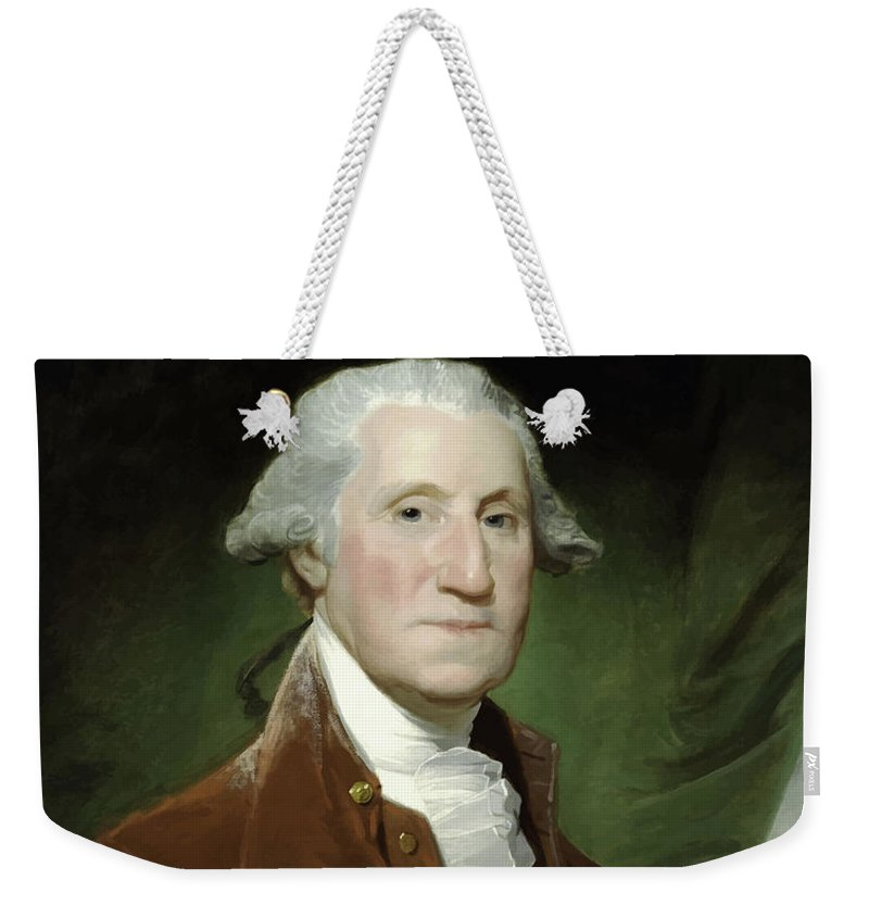 George Washington Weekender Tote Bag featuring the painting President George Washington 4 by War Is Hell Store