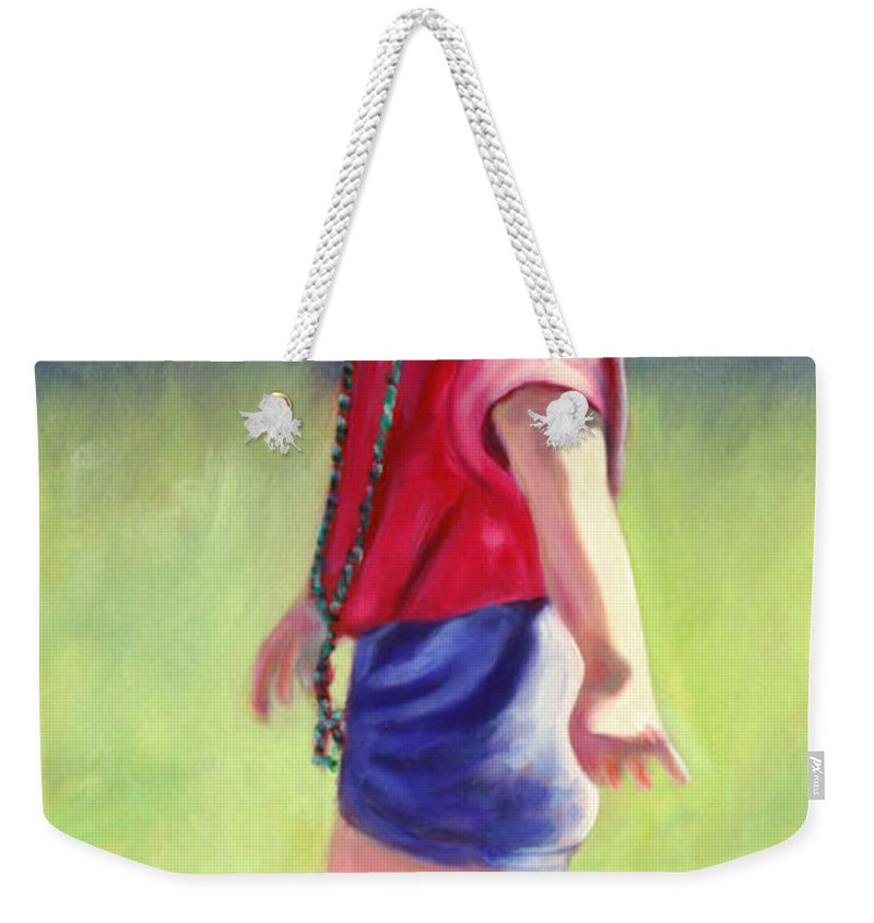 Child Weekender Tote Bag featuring the painting Pretty in Pink by Shannon Grissom