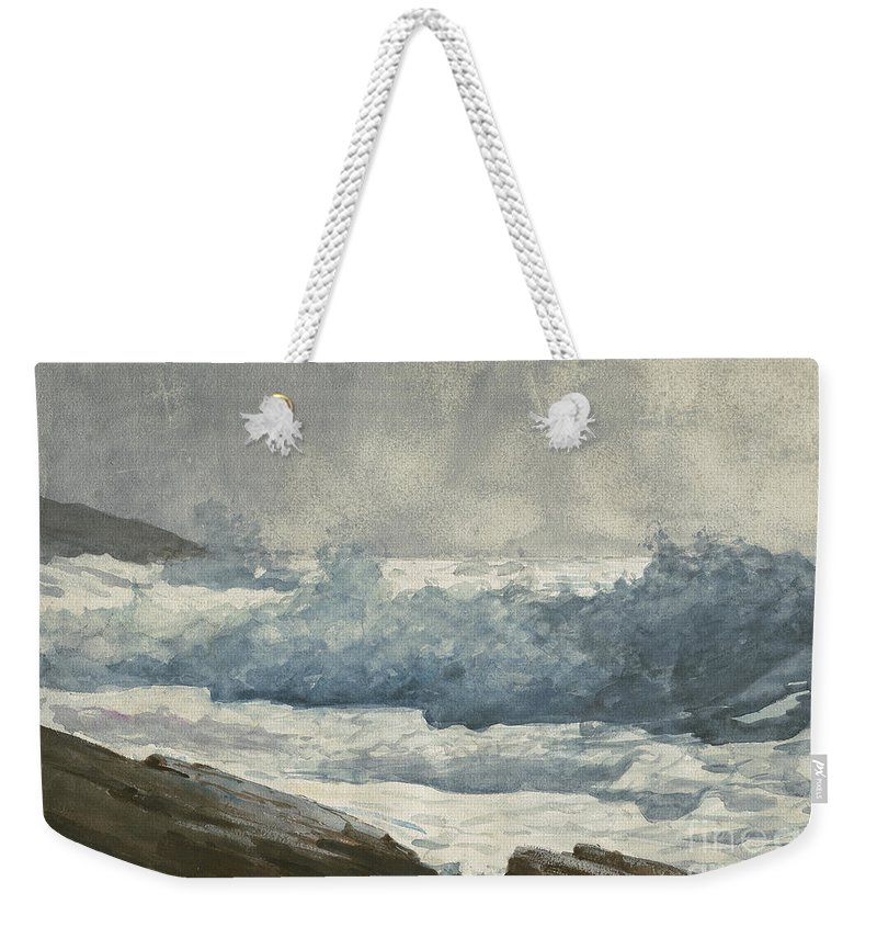 Winslow Homer Weekender Tote Bag featuring the painting Prouts Neck, Breakers 1 by Winslow Homer