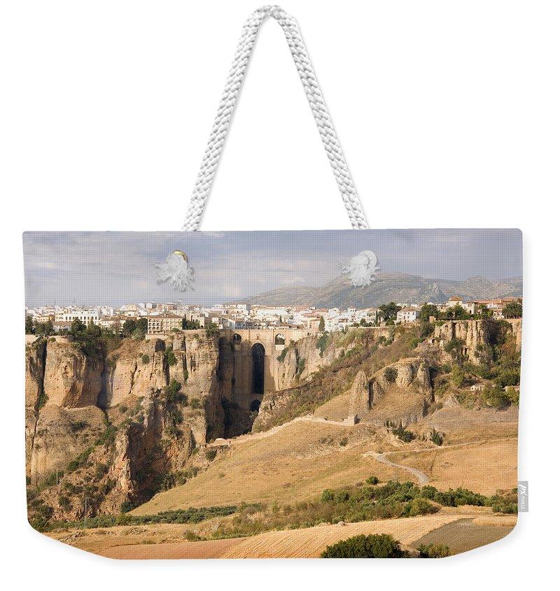 Ronda Weekender Tote Bag featuring the photograph Puente Nuevo Tajo De Ronda Andalucia Spain Europe by Mal Bray