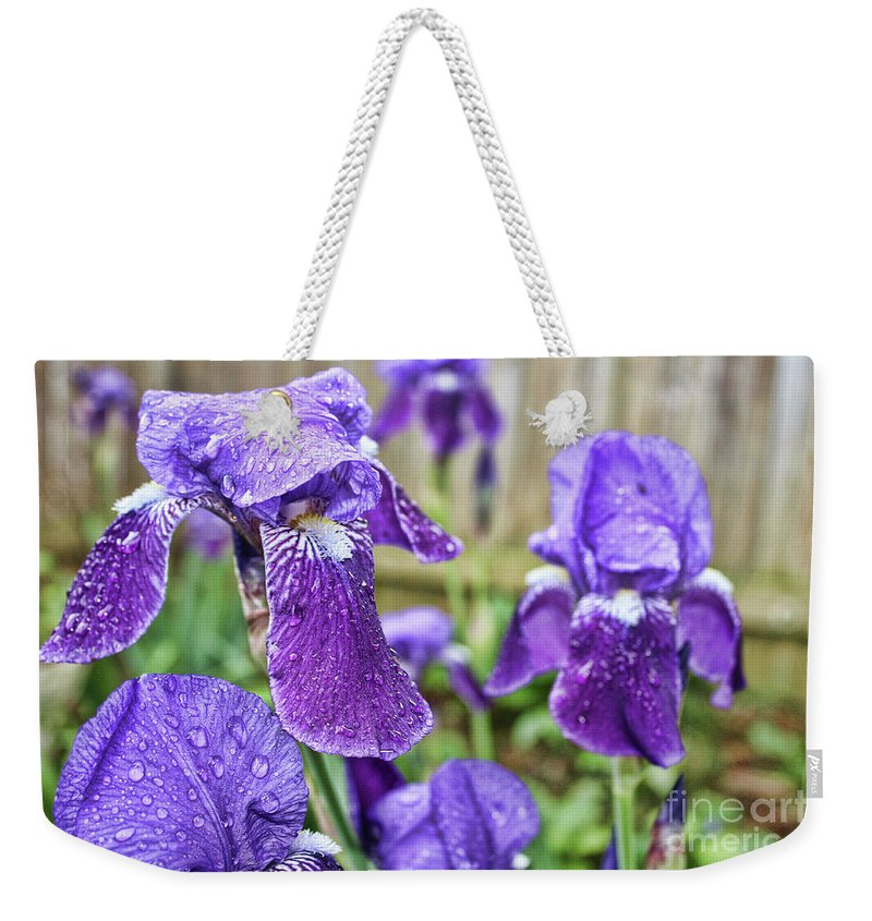 Elegant Weekender Tote Bag featuring the photograph Purple Iris by Alexander Butler